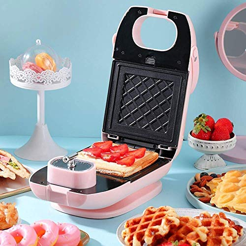 Mini wafelijzer, Elektrische wafelijzer, huis Ontbijt Machine/Broodrooster Light Voedsel Machine Multi-Purpose, met wafel bakplaat + Sandwich Baking (Pink)