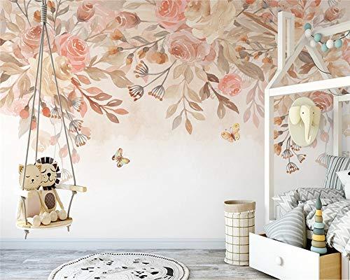 Carta da parati moderna in stile pastorale nordico dipinto a mano romantico romantico fiore di rosa sfondo americano carta da parati in papel de parede 140Cmx 70CM