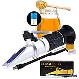 Tekcoplus 3重スケール 蜂蜜糖度計 Brix 58~90% ボーム38-43Be' 湿度12-27% 自動温度補正機能(ATC)付き 手持ち屈折計 養蜂、メープル、蜂蜜品質測定に対応 校正オイル付き 無料USBLEDライト付き 【日本語説明書付き】