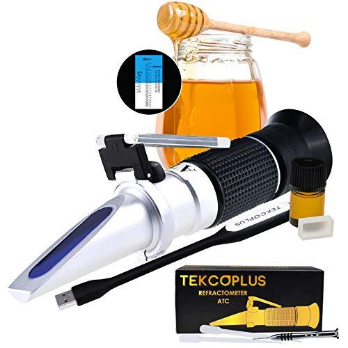TEKCOPLUS Optik Honig Zuckerfeuchte Brix Baume Refraktometer ATC, Verdreifachen-Größe 58-90% Brix, 38-43 Be '(Baume)
