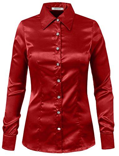 NE PEOPLE Womens Light Weight Long Cuff Sleeve Button Down Satin Shirt (S-3XL) Red