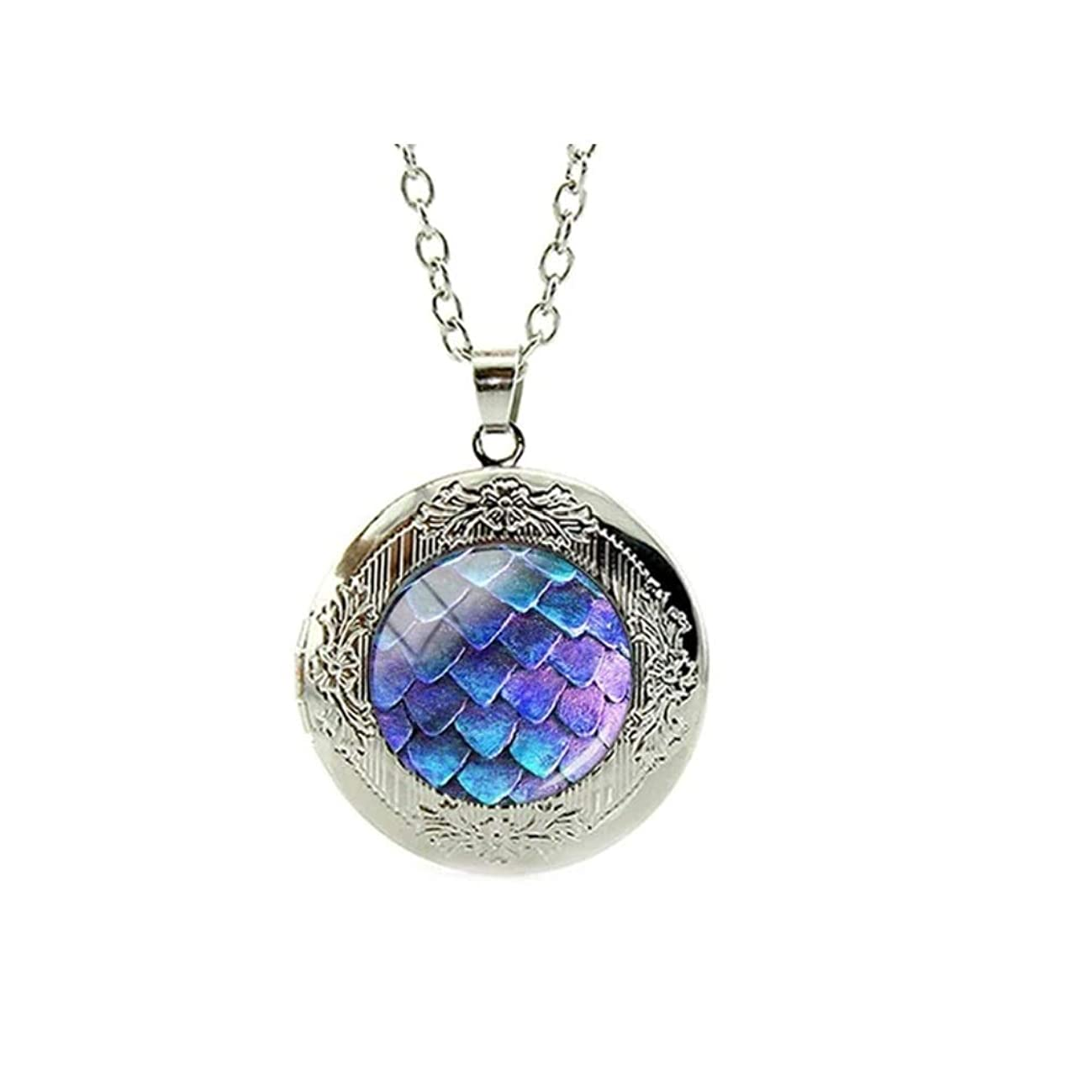 Chandria's Treasures Purple Scale Dragon Egg Engraved Locket Pendant Necklace 18