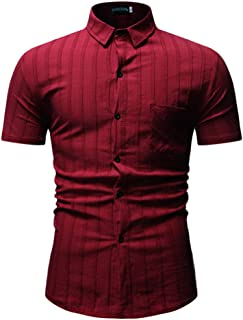 Qiyun Autumn Shirt Men Shirt Summer Stripe Short Sleeve Lapel Simple Fashion Male Casual Shirt Tops