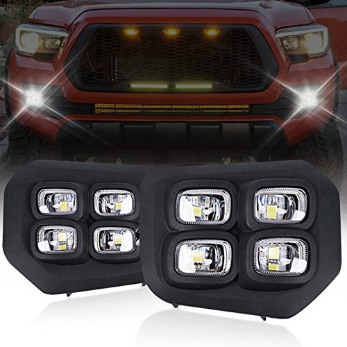 Upgraded Tacoma LED Fog Lights Compatible with Toyota Tacoma 2016-2020 Driving DRL Spot Light Bar for Trucks Assembly Clear Lens Lamp Offroad Fog Lamps,Wire&Switch Kits (Double Color White/Amber)