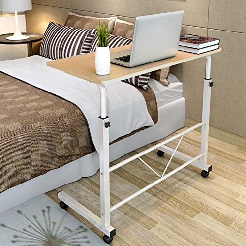 AYNEFY Mobile Laptop Table on Wheels, Height Adjustable Laptop Computer Stand Bedside Laptop Table Portable Side Table for Bed Sofa, 60.2 x 40cm(White)
