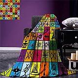 Manta de Tiro de Franela Collage de Elementos étnicos africanos en Cuadrados Coloridos Figuras simbólicas aborígenes Manta cálida para sofá Cama