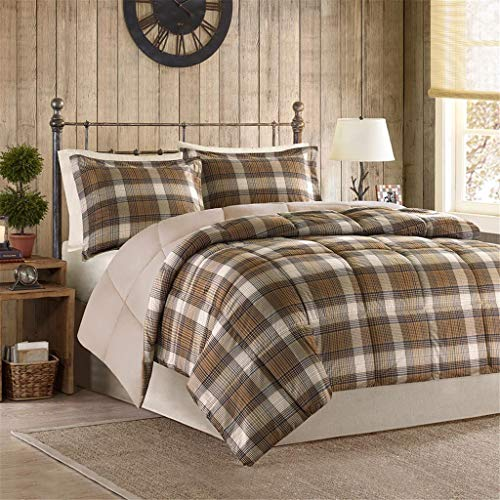 Woolrich Lumberjack Full/Queen Size Bed Comforter Set - Brown, Khaki, Farmouse, Rustic Plaid – 3 Pieces Bedding Sets – Softspun Flannel Bedroom Comforters