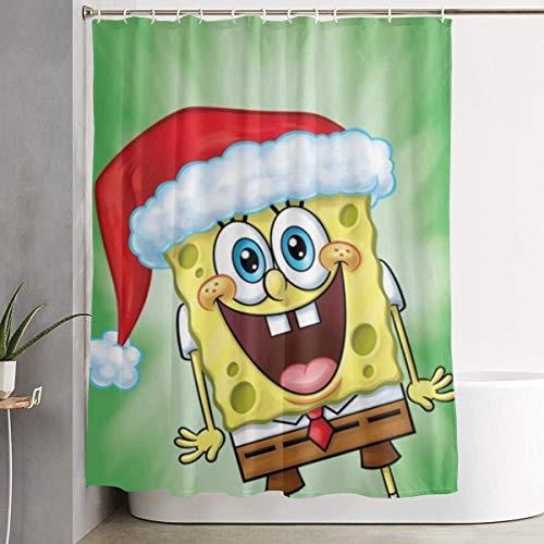 CDMT-XU1 Duschvorhang Weihnachten Spongebob Kunstdruck, Polyester Stoff Badezimmer Dekorationen Sammlung mit Haken 60X72 Zoll