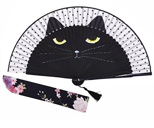 Amajiji Women Lovely Black Cat Folding Silk Fan Handheld Fan for Wedding, Dancing, Church, Party, Gifts (Black)