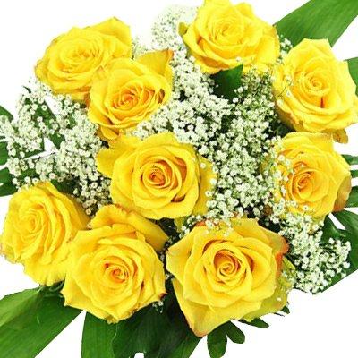Blumenstrauß gelbe Rosen - 10 x gelbe Rose mit Schleierkraut
