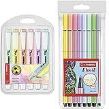 STABILO Marcador pastel swing cool Estuche con 6 colores + Rotulador Pen 68 Estuche con 8 colores
