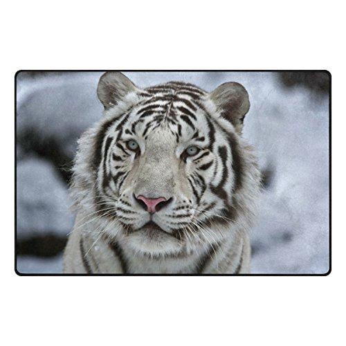 Use7 Tapis de sol pour salon et chambre à coucher Motif tigre Blanc 100 x 150 cm