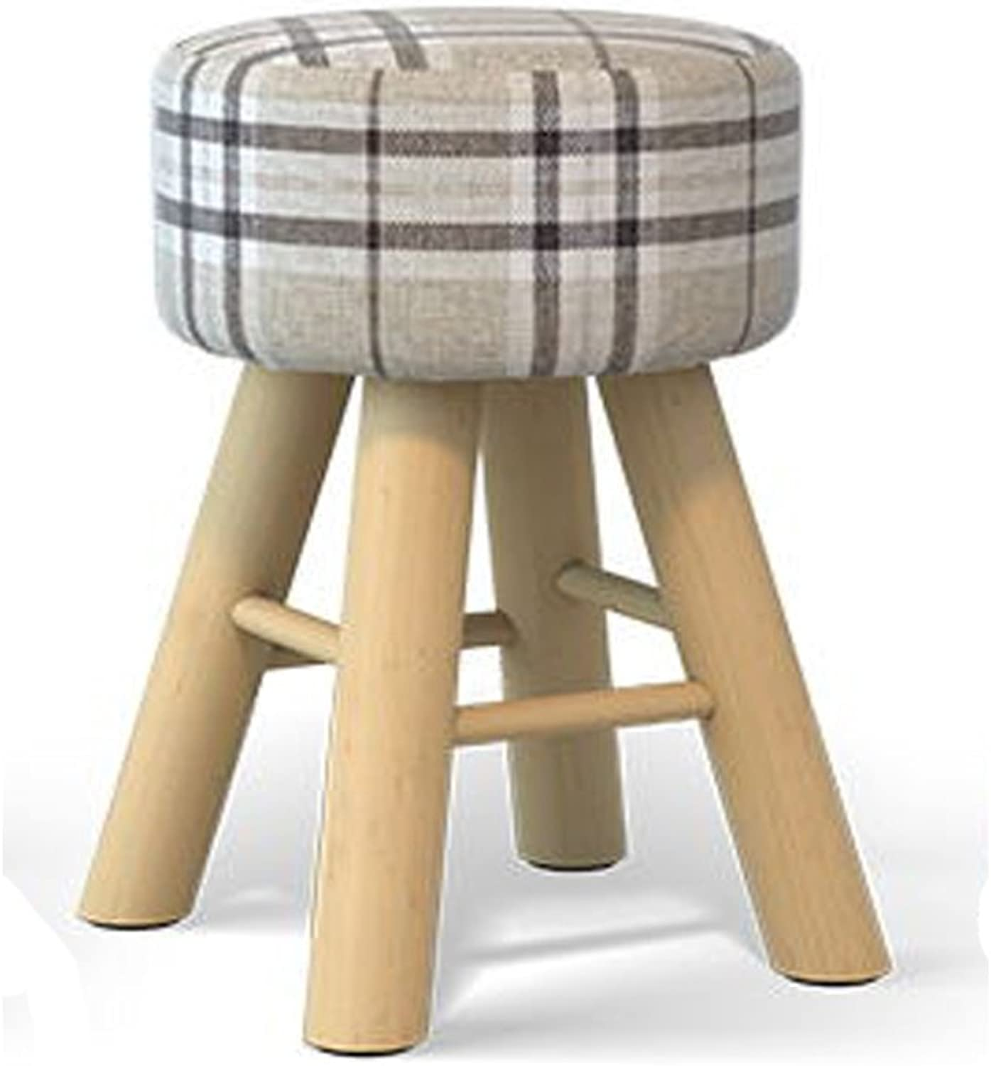 Solid Wood Stool Fabric Table Stool Fashion Creative Comb Makeup Stool Home Bench Stool Computer Stool Tables and Chairs Stool(29x42cm) 0520 (color   Multi-colord-a)