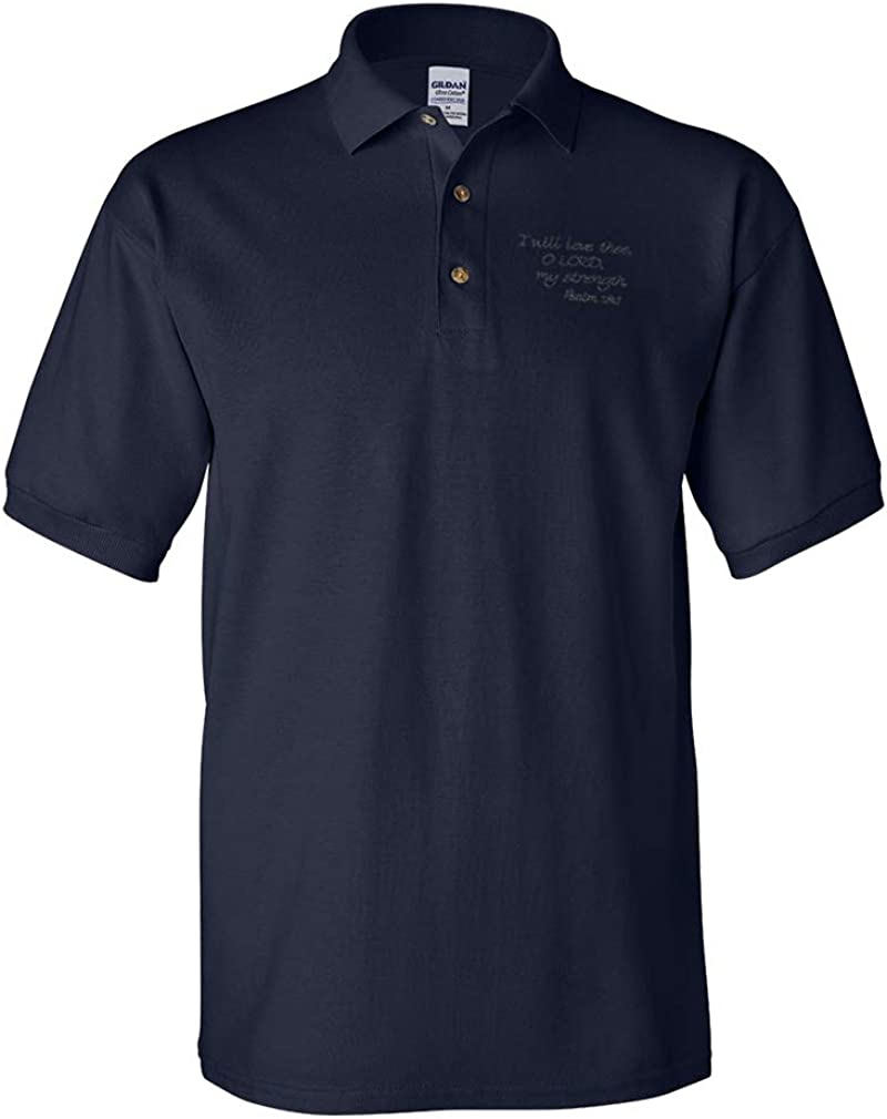 Polo Shirts for Men Bible Psalm 18:1 Manufacturer Detroit Mall regenerated product Short Embroidery Cotton Sle