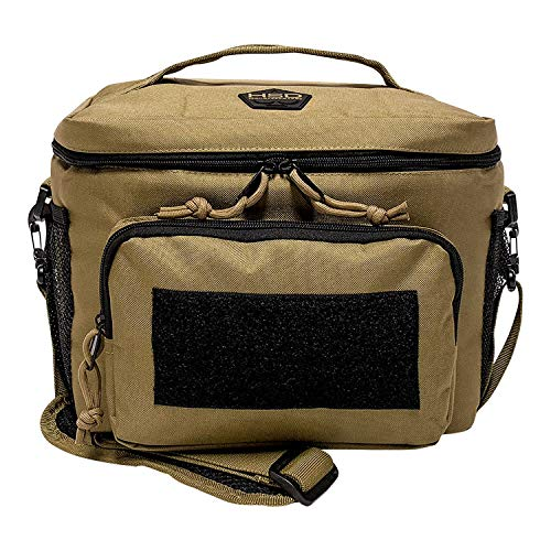 HSD Lunch Bag, Insulated Cooler, Large Thermal Lunch Box Tote with MOLLE / PALS Webbing, Adjustable Padded Shoulder Strap, for Tactical Men Women Adults (Coyote Brown)
