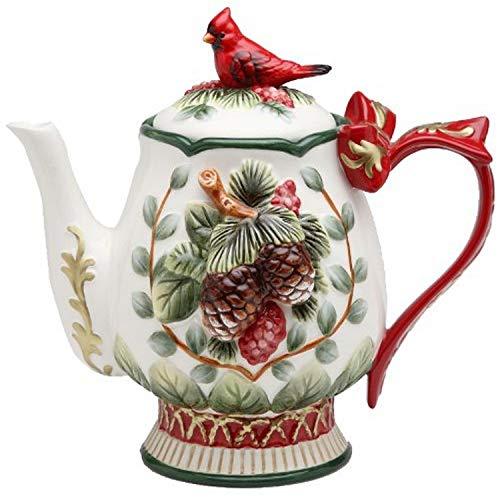 Cosmos Evergreen Holiday Cardinal 28-Oz. Teapot