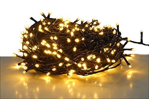 LED Lichterkette mit 600 LEDs - LED: warmweiß/Kabel: grün - für den Innen- und Außenbereich - Weihnachtsbaum Lichterkette (600 LED - 60m)