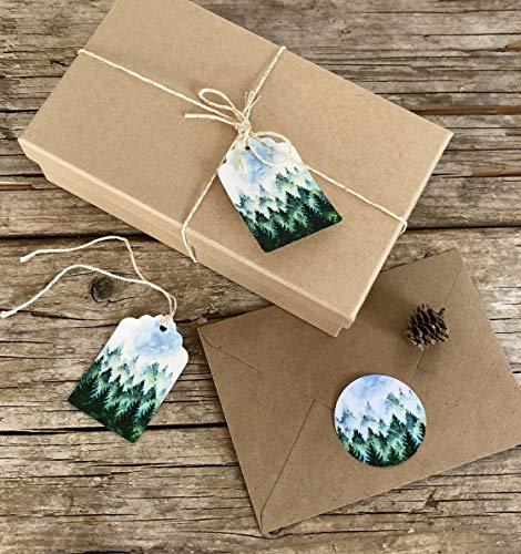Wald Motiv, 5 Geschenk Anhänger Set, Schildchen aus Papier, Tannenbäume digital Druck, Aquarell Papeterie, Weihnachten Geschenkverpackung, Lesezeichen