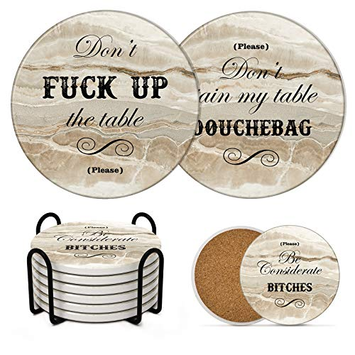 LIFVER Funny Coasters for Drinks with Holder, Set of 6 Marble Style Absorbent Drink Coasters with Cork Base, Cool Bar Coaster with 3 Sayings, Housewarming Gift Idea, for Tabletop Protection, 4 inch