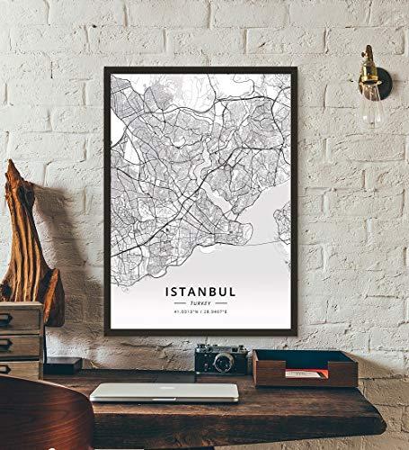 ZWXDMY Leinwand Bild,Türkei Istanbul Stadtplan Drucken Schwarze Und Weiße Linien Abstrakt Leinwand Poster Bild Wandbild Coffee Shop Office Studie Dekoration, 30 × 40 cm.