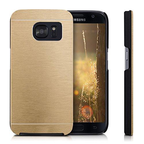 Vahalla Accesorios Funda para Samsung Galaxy S7 Aluminio metálica rígida Funda Trasera Dura en Color Dorada