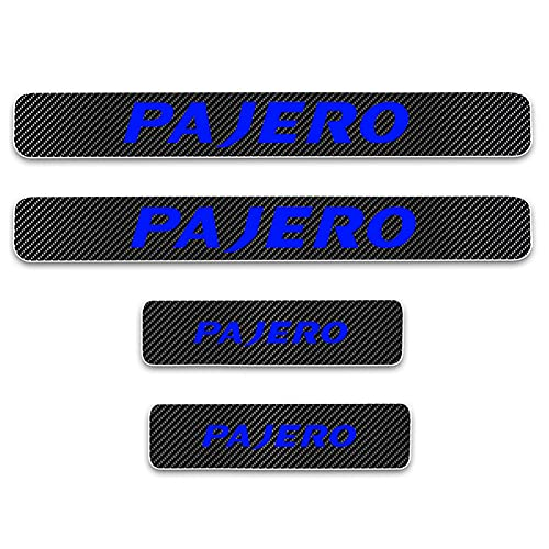 4PCS Door Sill Plate Stickers Auto Scratch Protector Car Guard Decals Carbon Fiber Cover Door Threshold Plate Guard Sticker for Mitsubishi Pajero