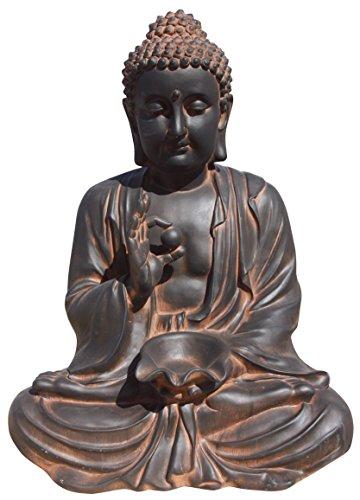 AnaParra Estatua Buda Prosperidad Figura Decorativa para Jardín o Exterior Hecho de Piedra Artificial   Figura Buda 80cm. Color Óxido