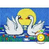 Lee My Knüpfteppich DIY Teppich Knüpfen Tiere Sortiert Wolle Geknüpft Knüpfset Kissen Stickerei Set für Erwachsene Kinder Anfänger,Swan,52x38cm/20x15 inch