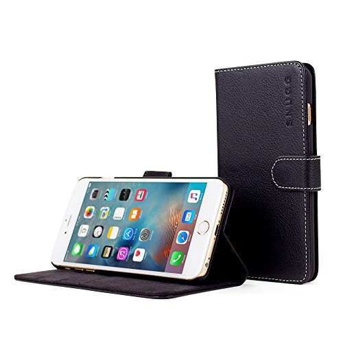 Snugg iPhone 6s Plus Case, Black Leather iPhone 6s Plus Flip Case Premium Wallet Phone Cover with Card Slots for Apple iPhone 6s Plus