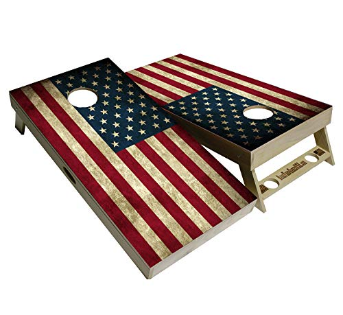 BackYardGamesUSA American Flag Series - Premium Cornhole Boards w Cupholders and a Handle - Includes 2 Regulation 4' x 2' Cornhole Boards w Premium Birch Plywood and 8 Cornhole Bags (Patriotic Flag)
