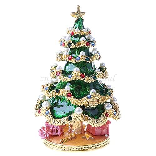 WYYUE Caja de Almacenamiento de joyería con baratija de árbol de Navidad Caja de exhibición de joyería con bisagra Decorativa de Estilo Vintage esmaltado Pintado, para Regalo