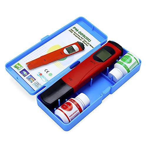 Profi ATC Wasserqualitätstester Digital PH Messgerät Thermometer Set, Wassertestgerät Ph Chlor, Tragbarer Water Test Meter Ideal Wasser Tester für Pool Trinkwasser Aquarien Schwimmbad by Hukz (Rot)