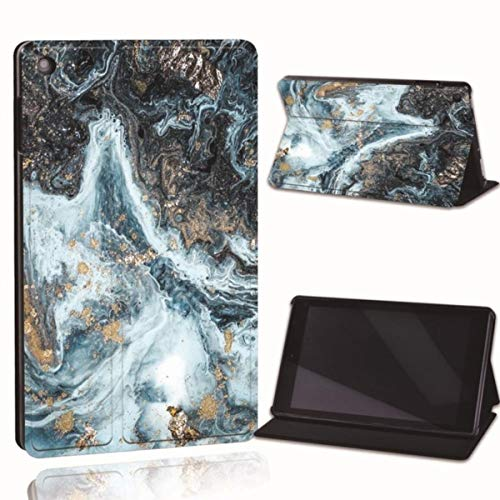 for Amazon Fire 7 5/7/9th Fire HD 8 10 Printed Leather Smart Tablet Stand Folio Cover-Ultra-Thin Marble Tablet Stand Case,23.Dark Blue Wave,Fire HD 8