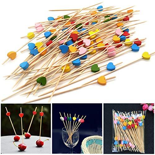 YuChiSX 200 Stücke Cocktailspieße Toothpicks,Cocktail aus Holz von Obst aus Bambus Cocktailspieße Holz Spieße Fingerfood Partypicker für Grillgut, Fingerfood, Obst-Spieß,Fasching Geburtstag Party