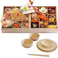 お食い初め豪華二段セット 日本橋正直屋 和食伝統料理の老舗 これ一つでお食い初めの儀式が出来ます (天然竹素材 器付き)