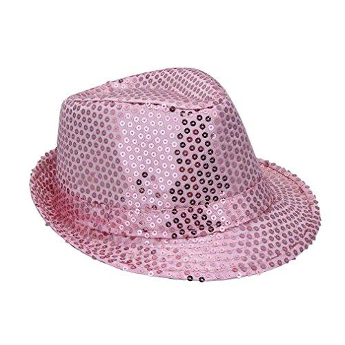 festi fiesta Fedora en Tejido, Color Rosa con Purpurina Rosa Talla 52Sombreros de Gangster Deguisement