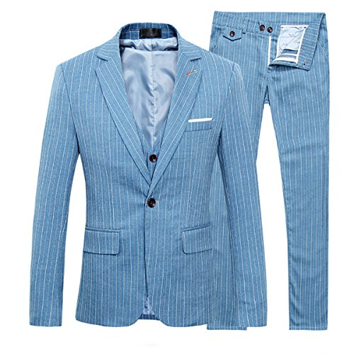 Tuta da uomo 3 pezzi a righe Slim Fit Vintage Abiti Matrimonio Ballo Blazer Giacca Gilet Pantaloni Blu S