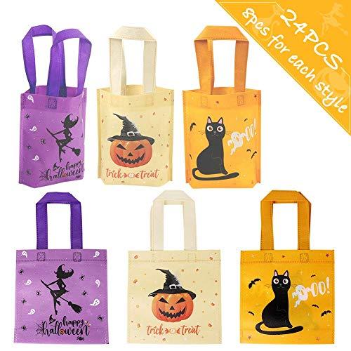 OurWarm 24Stück Halloween-Vliestaschen Süßes oder Saures-Geschenk-Taschen, 3 Art-Partei-Goodie-Taschen-Festlichkeits-Tasche mit Griffen-Gastgeschenken, Beige Orange Lila