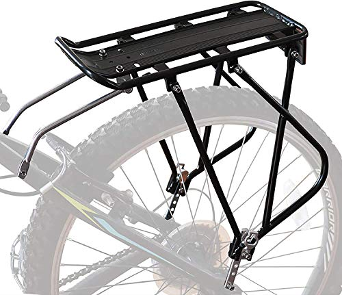 Bike Cargo Rack w/Bungee Cargo Net & Reflective Logo Universal Adjustable Bicycle Rear Luggage Touring Carrier Racks 25kg Capacity Mountain Road Bike for 26'-29' Frames