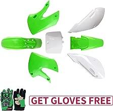 KLX110 Plastic Kit Fairing fender Kit for Kawasaki KX60 Suziki DRZ110 Pit Dirt Bike, Green & White, Green Gloves