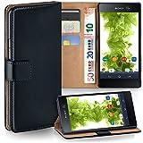 MoEx® Booklet mit Flip Funktion [360 Grad Voll-Schutz] für Sony Xperia M5 | Geldfach & Kartenfach + Stand-Funktion & Magnet-Verschluss, Schwarz