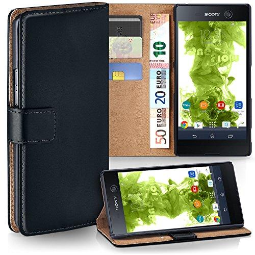 MoEx Premium Book-Case Handytasche passend für Sony Xperia M5 | Handyhülle mit Kartenfach und Ständer - 360 Grad Schutz Handy Tasche, Schwarz