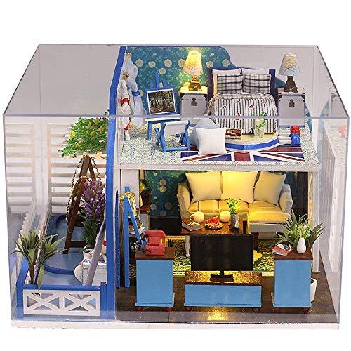 Casa de Madera Montaje de Juguetes, Casa de muñeca en Miniatura Cabina de Bricolaje Costa Azul Modelo de Juguete Niños Rompecabezas de Madera Regalo Creativo (Enviar Cubierta de Polvo) DSB