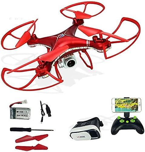 KYOKIM Fernbedienung und Handy-App-Steuerung Drohne Synchron-übertragung Luftaufnahmen 27  27  10 cm Flugzeit  12 Minuten und Fernbedienung Abstand  150 Meter mit VR 3D-Brille,rot