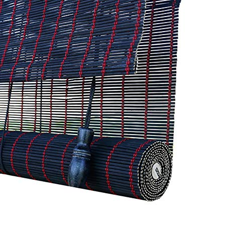 Holzrollo Rollläden mit Einer Breite von 85 cm / 105 cm / 125 cm / 135 cm, Bambus 80% Blackout Sonnenschirm im Japanischen Stil für Pavillon-Türbalkon, Schwarz (Size : 140×300cm)