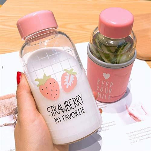 Wasserflasche Kawaii Erdbeere Wasserflasche Karikatur-netter transparenter Glas-Schale mit schützendem Fall Trinkflasche for Mädchen-Studenten-Geschenke (Capacity : 301 400ml, Color : Purple)