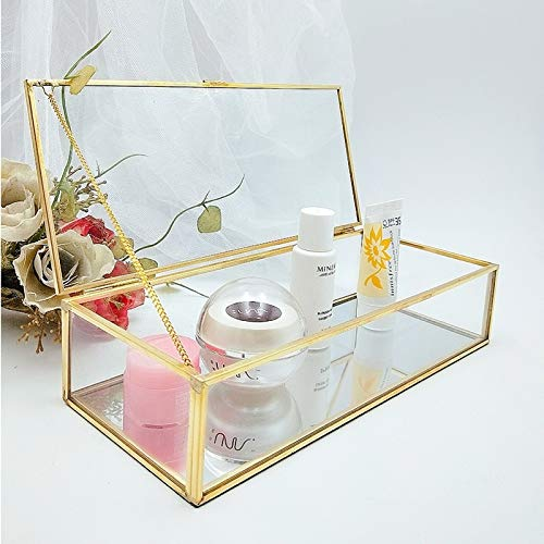 Caja de almacenamiento transparente para relojes de baño, para pendientes, joyería y accesorios de almacenamiento de cristal, caja de almacenamiento de cosméticos