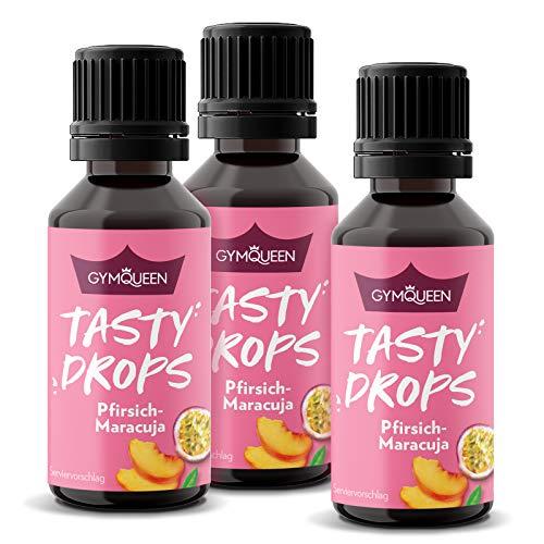 GymQueen Tasty Drops 3x30ml | Kalorienfreie, Zuckerfreie und Fettfreie Flavour Drops | Aroma Tropfen zum Süßen von Lebensmitteln | Geschmackstropfen ohne Künstliche Farbstoffe | Pfirsich-Maracuja