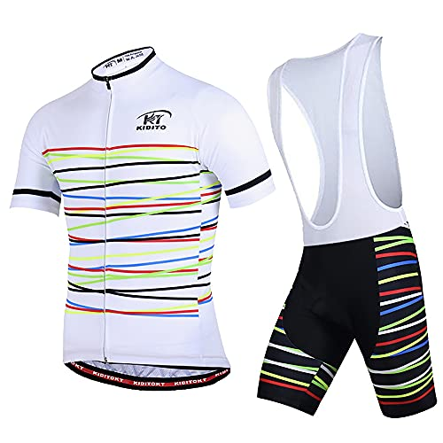 73FACAI Jersey de Ciclismo de Manga Corta con Diseño de Cinta MTB, Ropa de Bicicleta Transpirable, Pantalones Cortos de Bicicleta de Carretera con Acolchado de Verano UV50 +,White,L(170~178cm70kg)