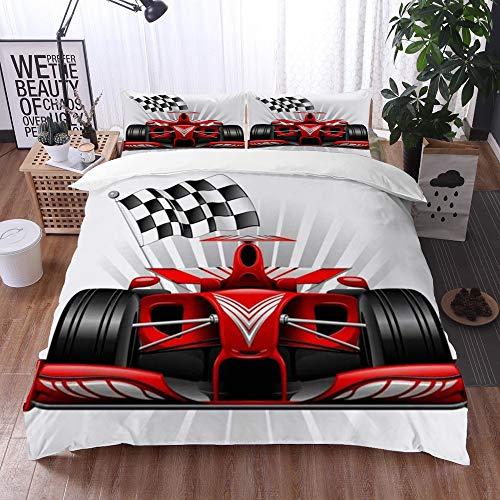 Juego de Fundas de edredón,Speedy Grand Red Race Car Cuadros Ver Resumen Prix Pista Delantera Velocidad Mónaco,Fundas Edredón 220 x 240 cmcon 1 Funda de Almohada 40x75cm
